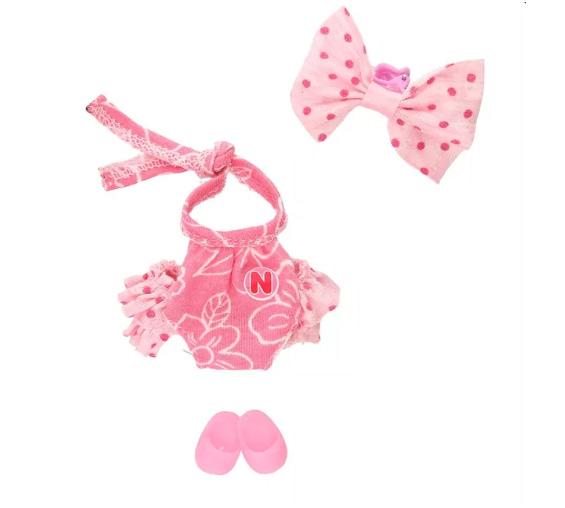 Vestido Ksimerito pañalero rosa olanes atras